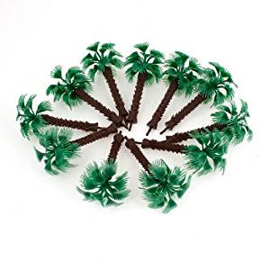 SODIAL(R) 9cm High Scale 1:100 Green Plastic Short Palm Model Tree 10 Pcs
