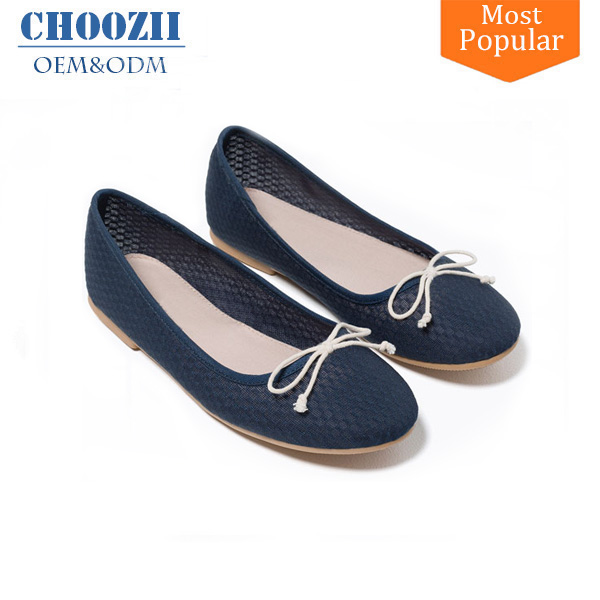 Manufactures Fancy Ladies Slip on Ballerina Flat Shoes Made in China