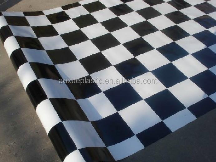 Zwart Wit Vinyl : Zwart wit geruit ontwerp wit vilt rug pvc vinyl vloerbedekking