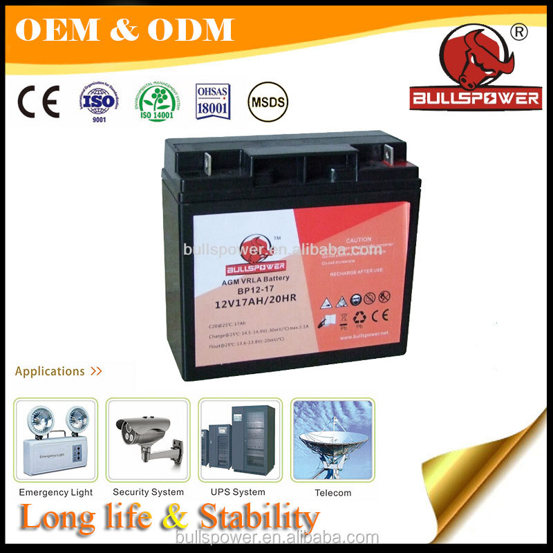 Security System 12v 17ah auto start elevator emergency battery