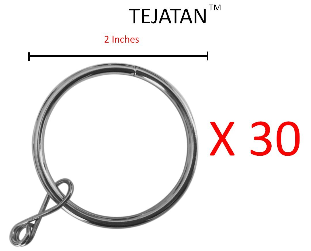 2 Inch Set Of 30 Silver Curtain Rings Also Know As Drapery Ring Hooks Hangers Drape For Rods Curtains
