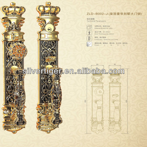 Luxurious hollow-out craft holding handle for entrance solid door