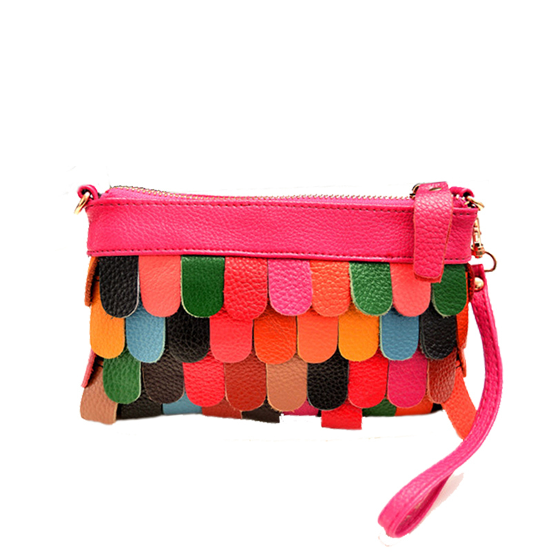 2015 Time-limited Rushed Handbags Women Handbag Genuine Leather Tassel Colorful Cowhide Multy-function Day Clutch Messenger Bag