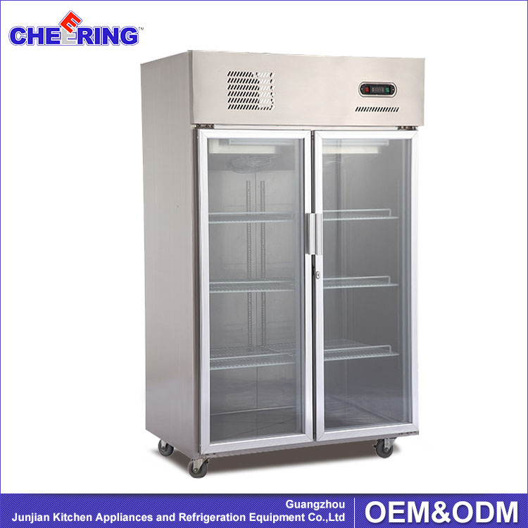commercial double upright portable stainless steel freezer & refrigerator with glass door