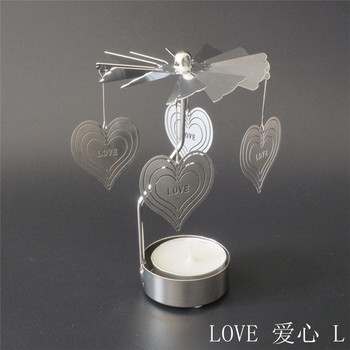 China supplier spinning/rotary/carousel decorative love candle holder