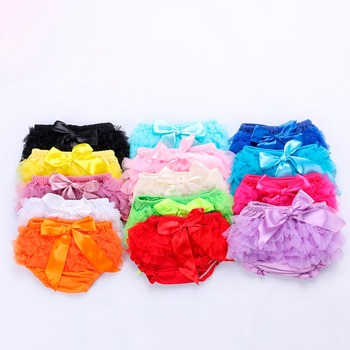 W2204 Girls Short Pants Cotton Layers Chiffon Ruffled Newborn Bloomer PP Shorts Cute Baby Solid Color Shorts Kids Diaper Covers