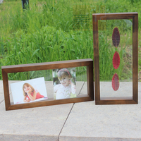Custom wooden walnut double glass square floating photo picture frame 3d wall hanging shadow box display case