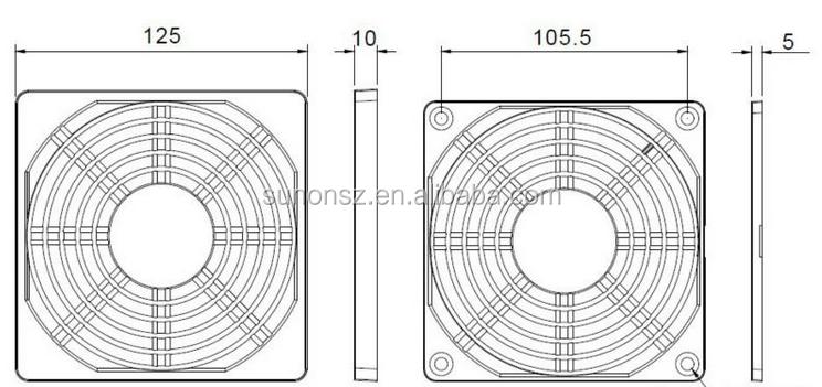 3 in 1 plastic computer fan dust filter/120mm fan plastic cover grill