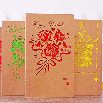 New Design Happy Birthday Handmade Greeting Card With Rose Flower