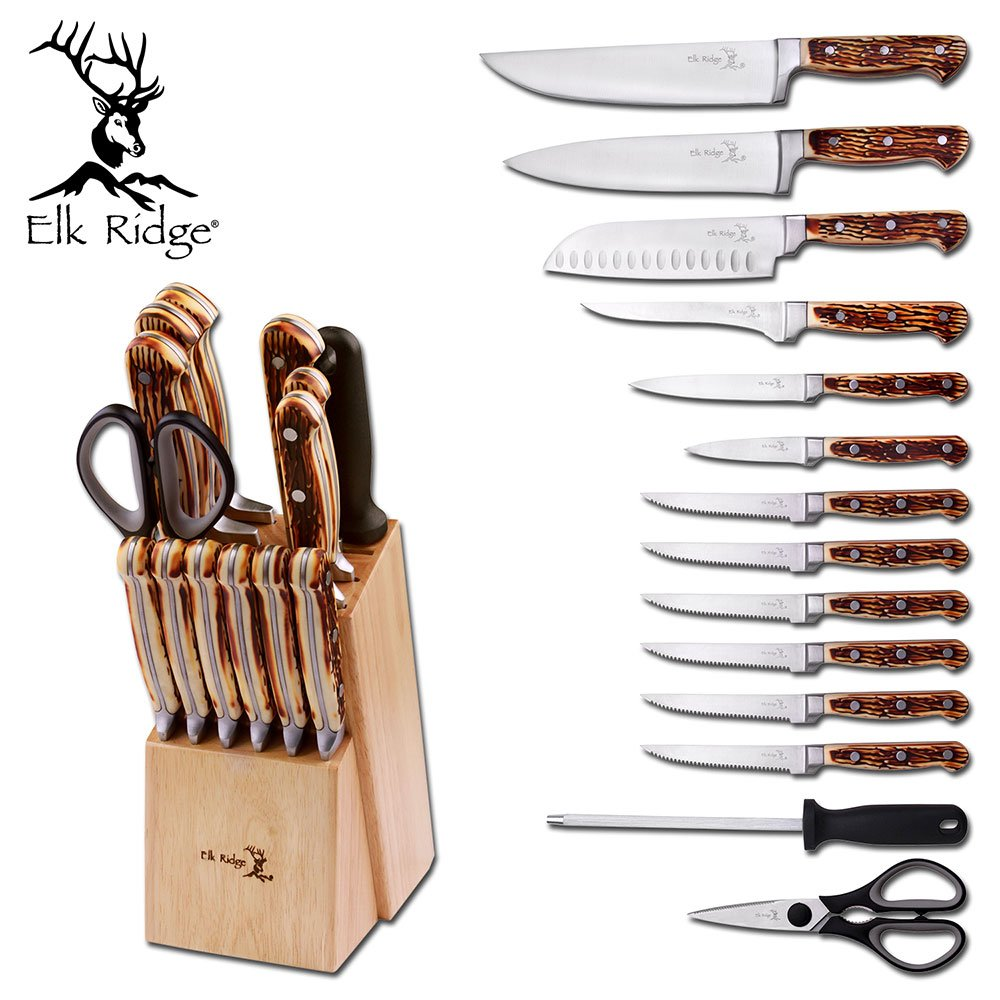 Elk Ridge Er928 Kitchen Knife Set with Wood Block & Sharpening Rod (15 Piece)