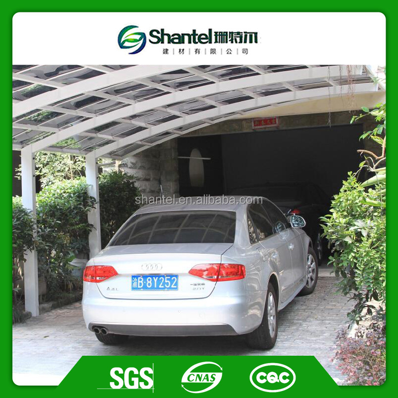 2 Car Metal Carport With Aluminum Frame and Polycarbonate Solid Panel Parking roof