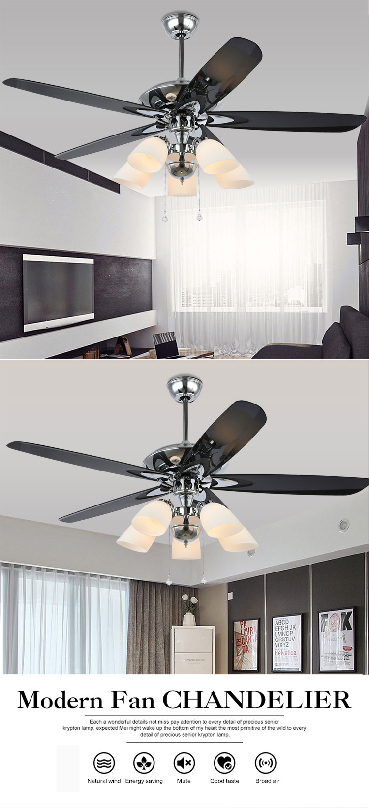 Low price Modern 5 blades 220v ceiling fan Pendant Lights energy saving
