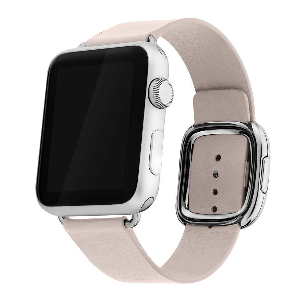 Apple Watch Band 38mm Series 1/Series 2, Bandkin Large Modern Buckle Band with Genuine Leather Strap for iWatch (38mm Soft Pink)