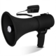 Portable Compact PA Megaphone Speaker with Alarm Siren & Adjustable Volume - 50W Handheld Lightweight Bullhorn - with Mic, AUX