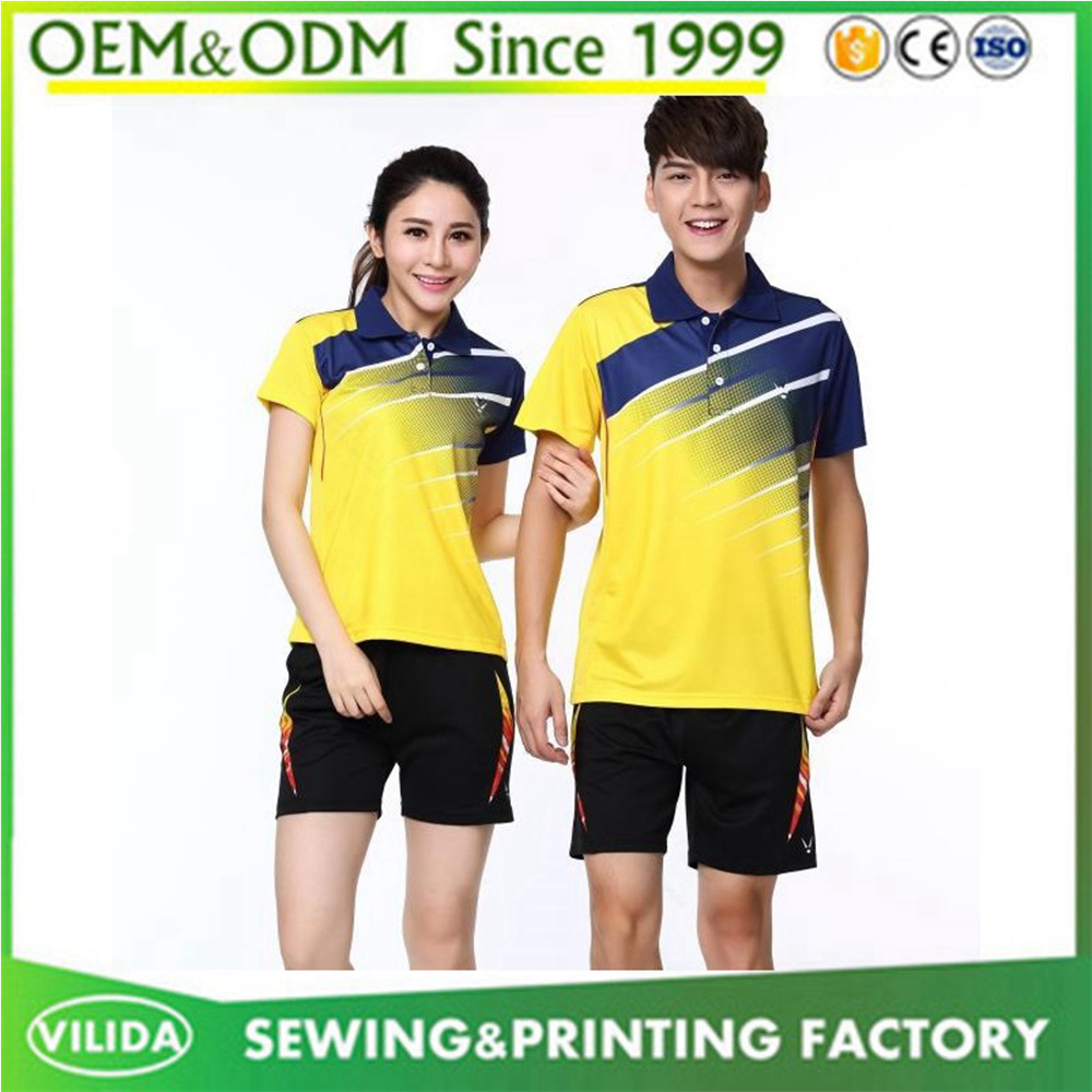 Latest men and women polo badminton wear top quality dry fit badminton jersey