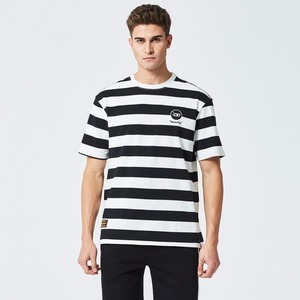 Horizontal striped short sleeve overseas t shirts wholesale with no brand