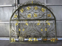 GYD-15WG063 The newest golden and flowers modern iron window grill design