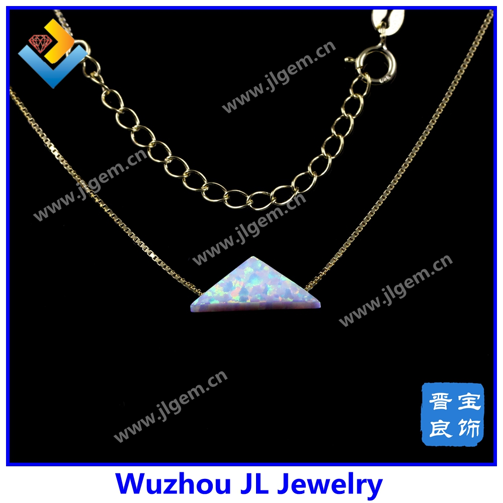 Unusual Shape Synthetic White Triangle Opal Pendant 18K Plated 925 Silver Necklace