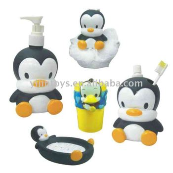 Custom Cartoon Vinyl Bathroom Set Penguin Bathroom Accessories For