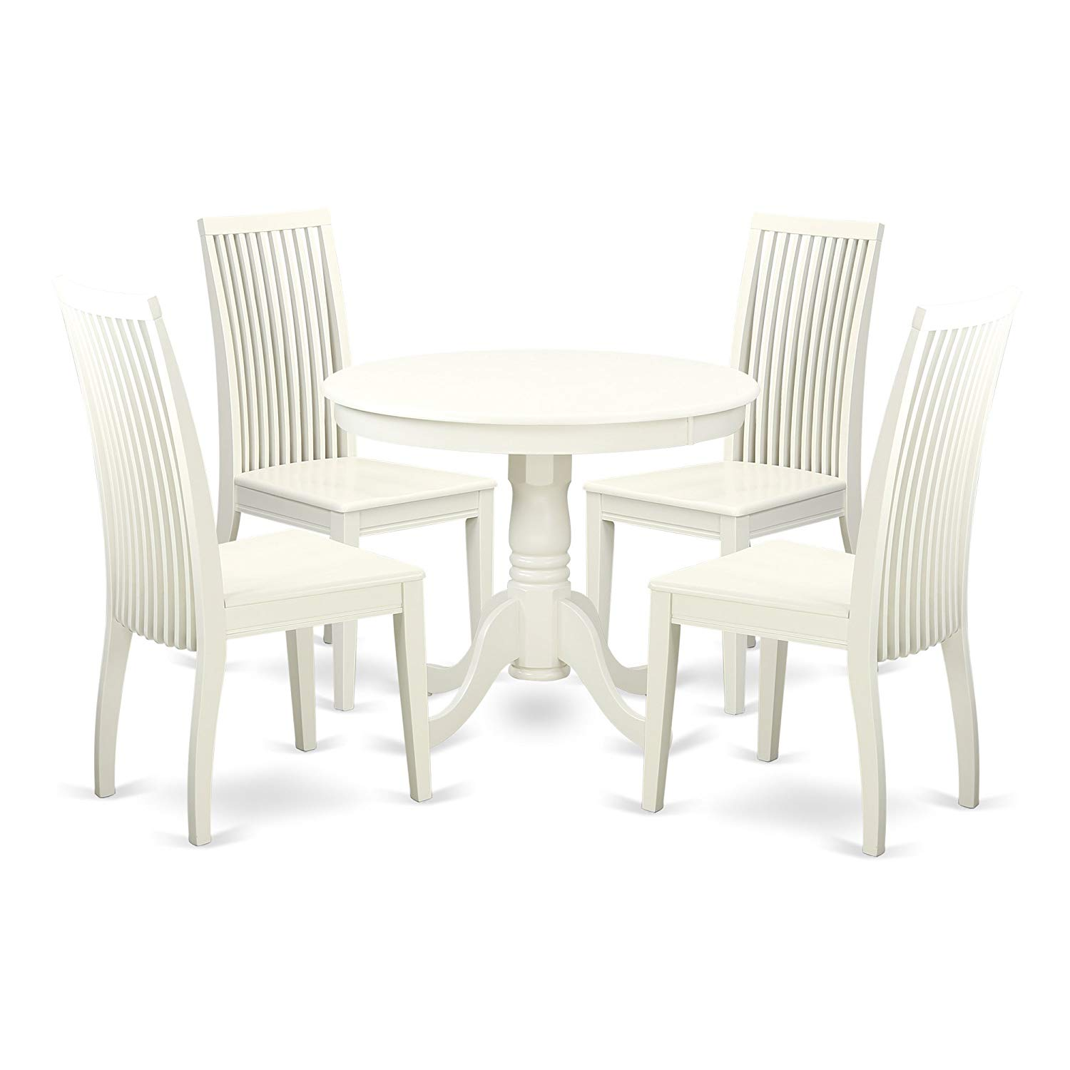 East West Furniture ANIP5-LWH-W Kitchen Set, Small, Linen White