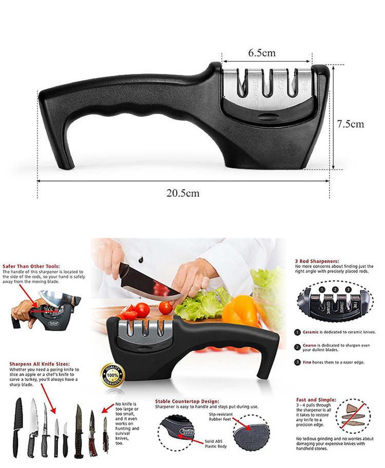 2019 new Multifunctional  mini professional sharpener for knife 3 stage fast