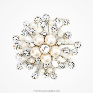 Custom made bridal crystal brooch, Fashion Pearl Brooch for women