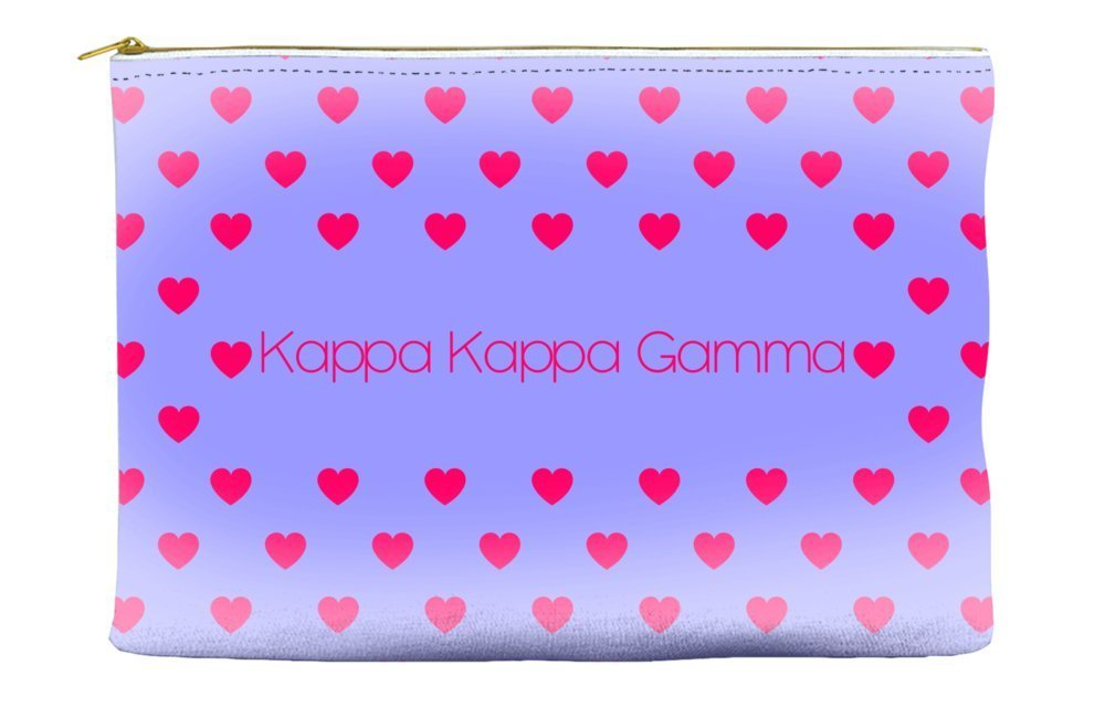 Kappa Kappa Gamma Heart Pattern Purple Cosmetic Accessory Pouch Bag for Makeup Jewelry & other Essentials