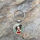 Hipster Boston Terrier Keychain Cute Cartoon Dogs Glass Cabochon Keyrings Jewelry