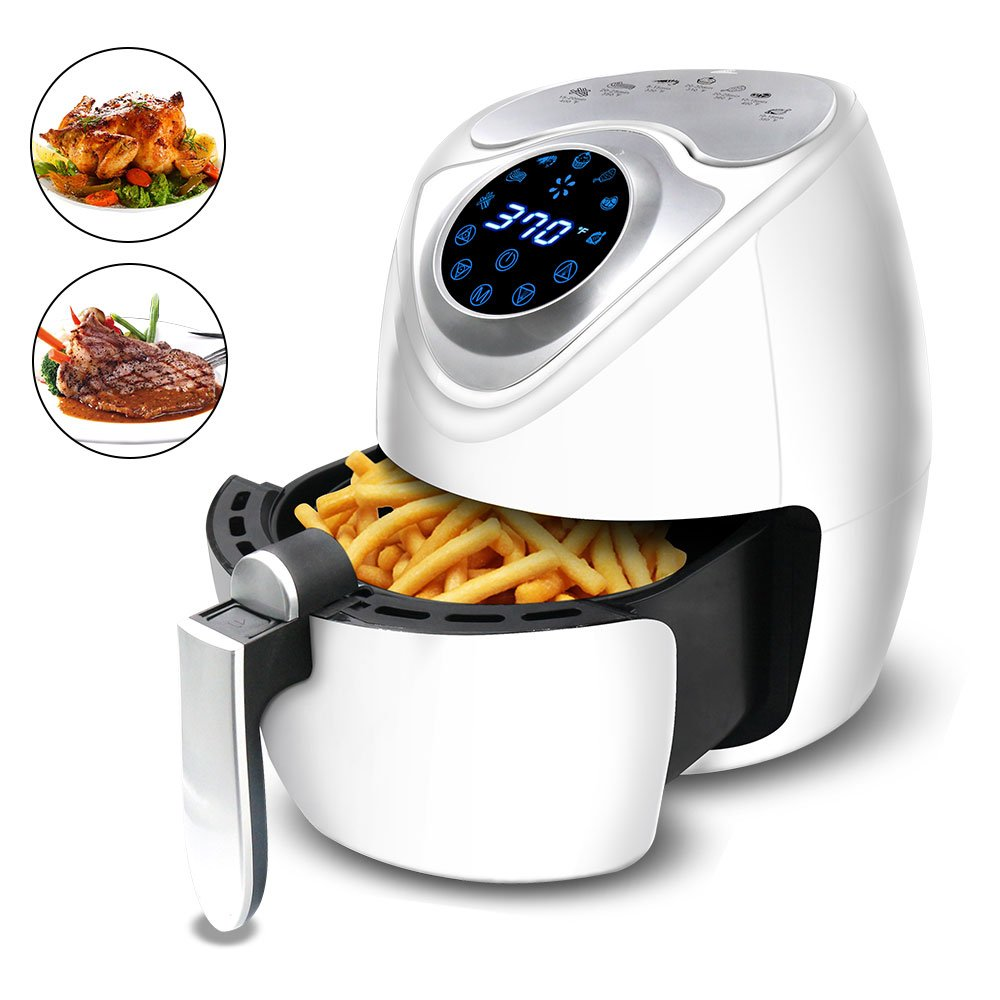 Yakuin Air Fryer Multi-function Electric Air Fryer with Digital Touch Screen Control, Non-Stick Oilless Fryer with Temperature and Time Settings, 7 Cooking Presets, 2.8Qt 1300W, White