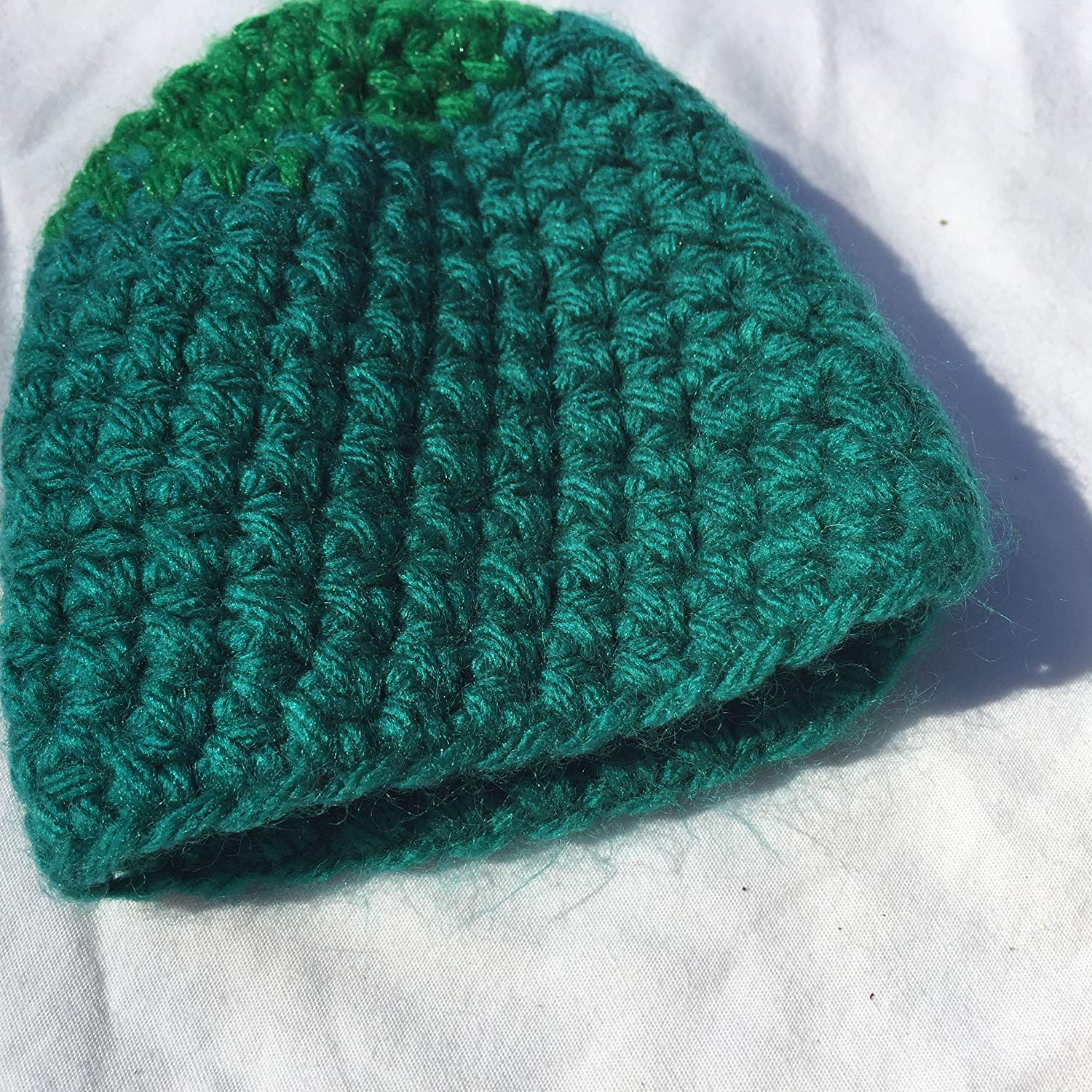 67b94b90789 Get Quotations · Green and Blue Striped 4x8 Newborn Baby Crocheted Hat