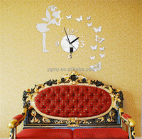Modern Style Butterfly Fairy Wall Clock Wall Sticker Home Decor Bedroom Living Room 60 * 60CM