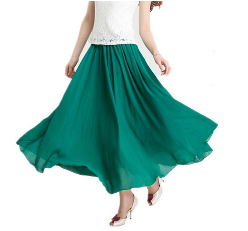 6249b05fc7d Get Quotations · Summer style women tulle maxi skirt Retro Vintage Double  Layer Chiffon Pleated Maxi Long skirts plus
