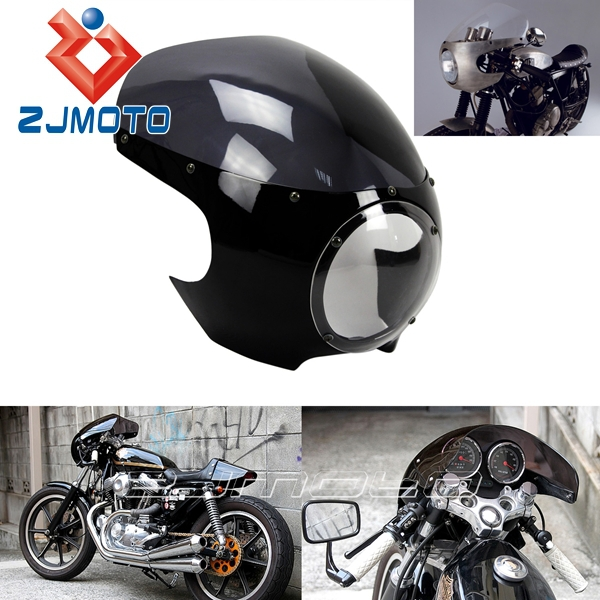 5 3 4 Quot Headlight Fairing Motorcycle Black And Smoky Abs
