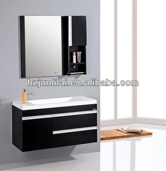 white and black color wall mounted mdf bathroom cabinet