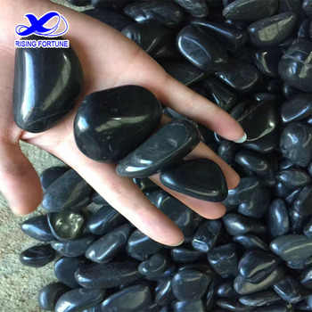 High polished black river rock pebbles