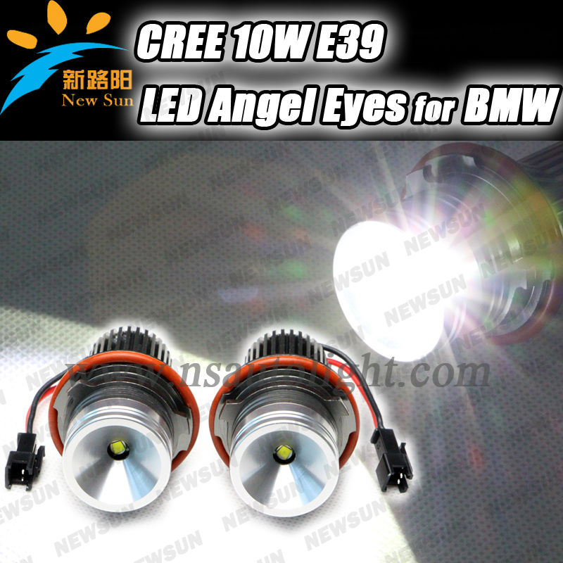 Super bright led angel eye for bmw,10w cree led chips e39 e60 angel eye for bmw car headlights e87 e53 e83 x3 marker angel eye