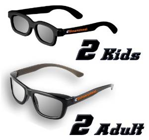 ED DUAL PLAY Family 4 Pack (2 Adult and 2 Kids) - LG AG-F310DP + AG-F400DP Cinema 3D Dual Play Compatible Gaming Glasses