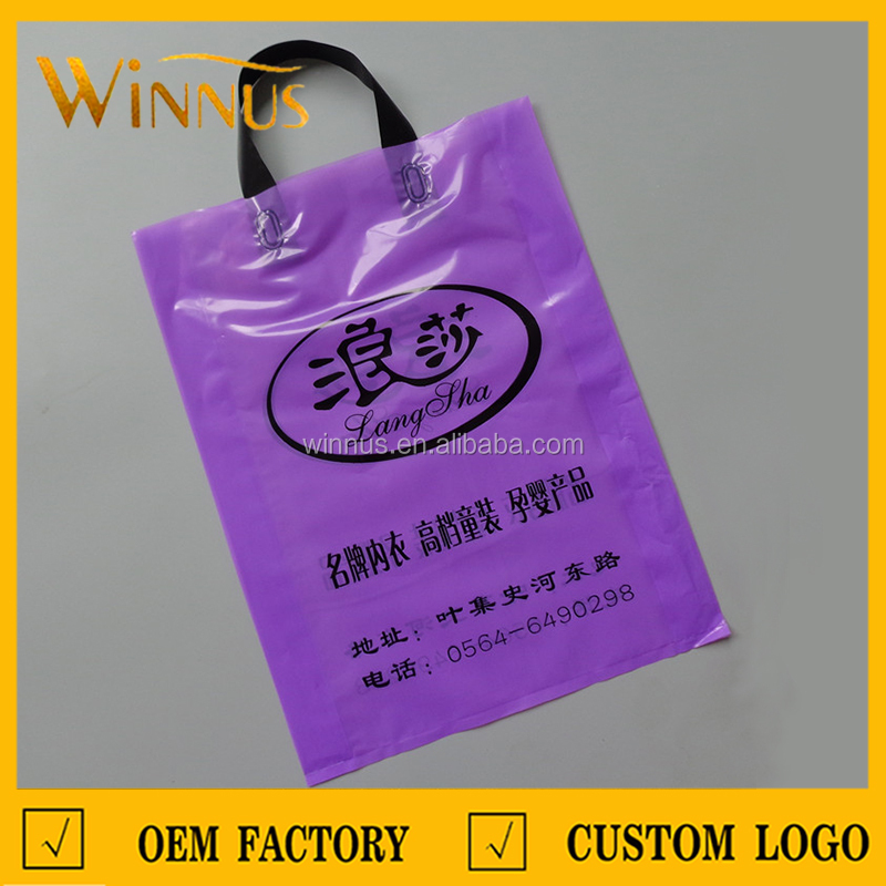 cheap logo print clothing shoes clothes recycled carry shopping tote side gusset plastic carrier bags with handle