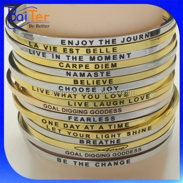 Personalize Custom Metal Stamped Inspirational Message Cuff Bangle Bracelet 316L Stainless Steel Jewelry Jewellery For Men&Women