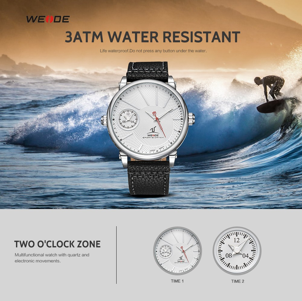 Weide Watches Men Quartz Japan Movt Stainless Steel Back Dual Time ...