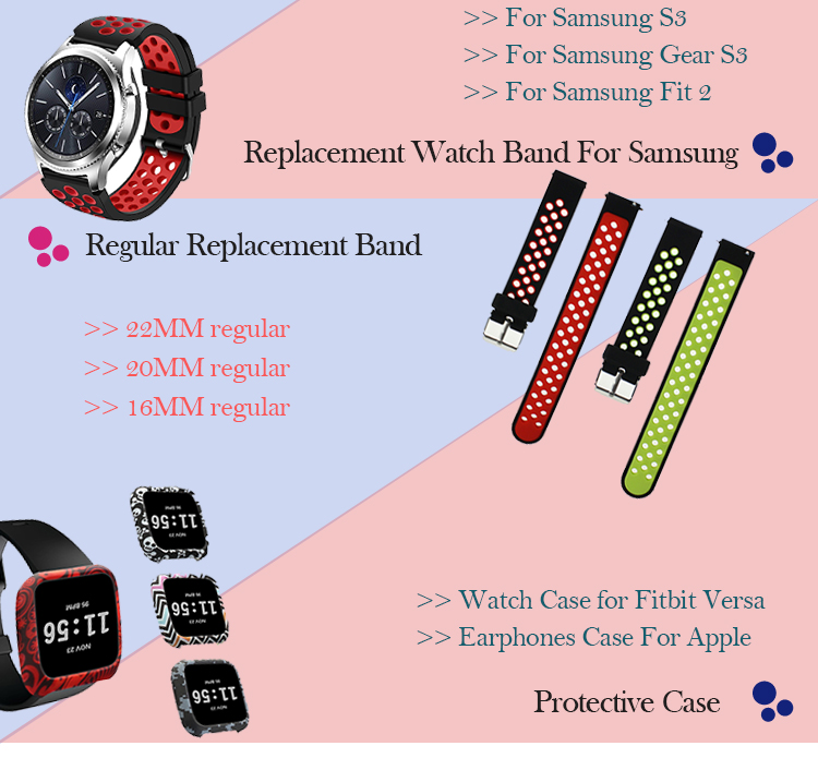 BOX-W Gear Sport S2 Classic Band,20mm Silicone Breathable Replacement Strap Quick Release Pin for Samsung Galaxy Watch 42mm Band
