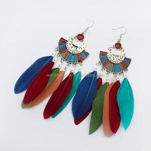 hypoallergenic antique silver surgical feather earring