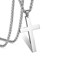 Stainless Steel Cross Pendant Chain Necklace for Men Women 22-24 Inches
