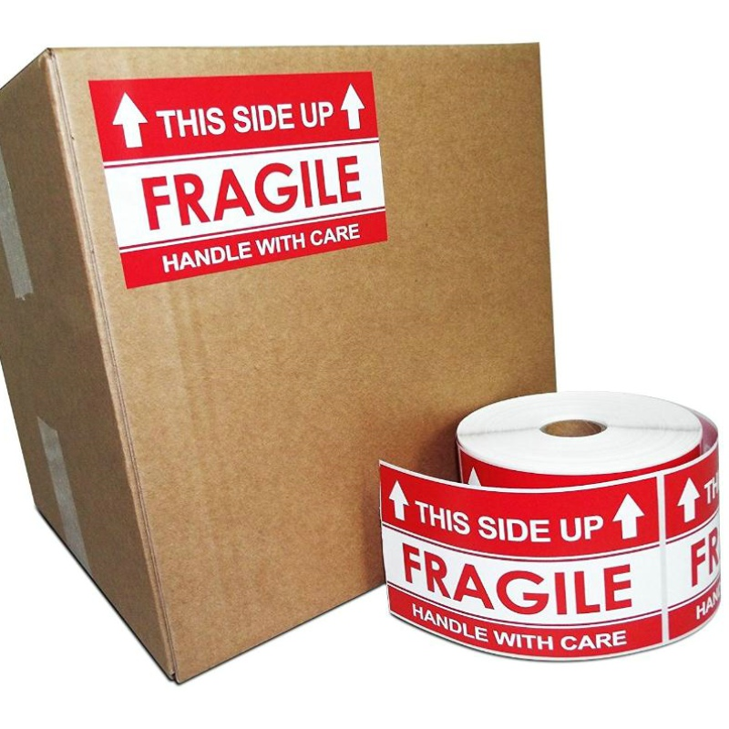 "Jetland 2""*3"" Handle With Care This Side Up Fragile Stickers Adhesive Label 500 Per Roll"
