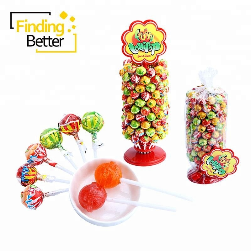 Shantou Große Bom Lollipop Hersteller Süßigkeiten Baum Süße Frucht Bonbon Hard Candy Sweets Pin Pop Lutscher Ball Barcelona Lollipop