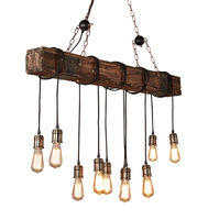 Natural wood beaded chandelier industrial lighting pendant lamp vintage