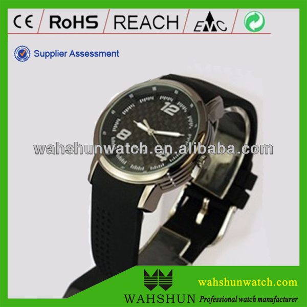 Popular black silicone bracelet men's japan movt quartz watch price