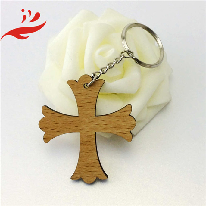 hot sale laser cut wood carving keychain for souvenir