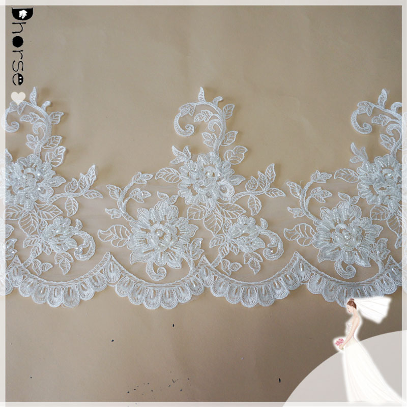 25cm Wide Ivory/White Floral Bridal Veil Alencon Lace Trim Bridal Wedding Dress Fabric-DHBL1743