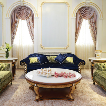 Luxury French Design New Classic Navy Fabric Sofa/ Elegant Palace Hand  Carved Wooden Living Room